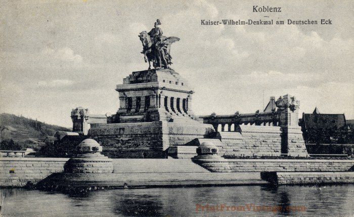 post card koblenz print from vintage. Black Bedroom Furniture Sets. Home Design Ideas