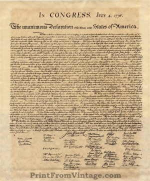 Influential image for printable copy of the declaration of independence
